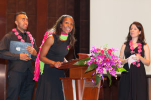 speaking at breast cancer fundraiser