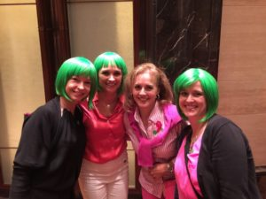 women in green wigs