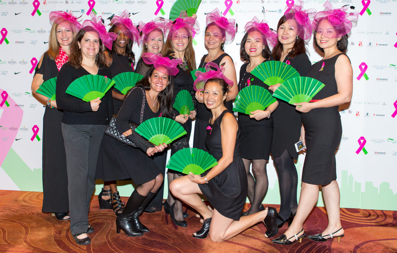 green fans and pink fascinators