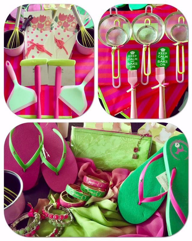 pink and green items