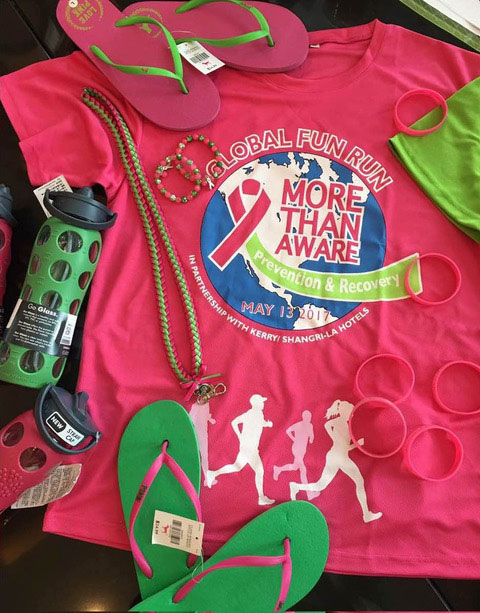 pink and green race merchandise